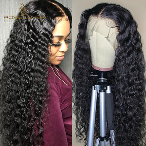 Image 4 - Deep Part Curly Human Hair Wigs 13*6 Wet and Wavy Lace Front Wigs Brazilian Lace Frontal Wig Remy Hair Pre Plucked Bleached Knot