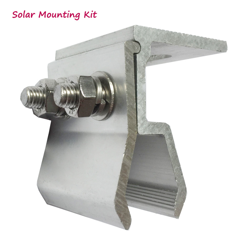 House Solar Panel Installation Solar Kit Accessories Brackets System Aluminum Material Fixed Clamp Base On Steel Roof