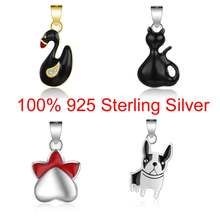 100% 925 Sterling Silver Dog Paw charms for Women Necklace Charms Vnistar Cat Rabbit Dog BirdPendants Animal Charms of Necklace(China)