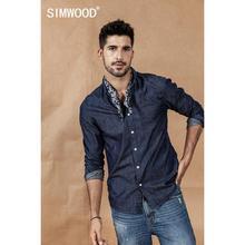 SIMWOOOD cotton dot casual denim shirts men scarf detachable denim shirt high quality deep blue 2020 spring winter shirts