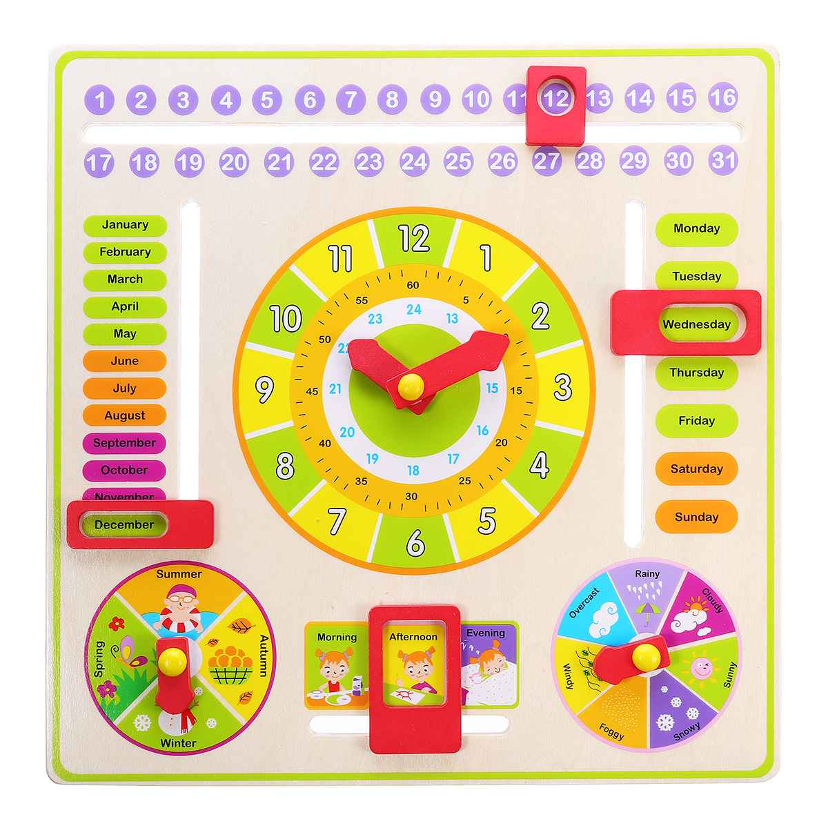 Wooden Children Kids Calender Clock Multifunction Educational Learning Toy Time Dates Cognition Toys Teaching Gifts Montessori