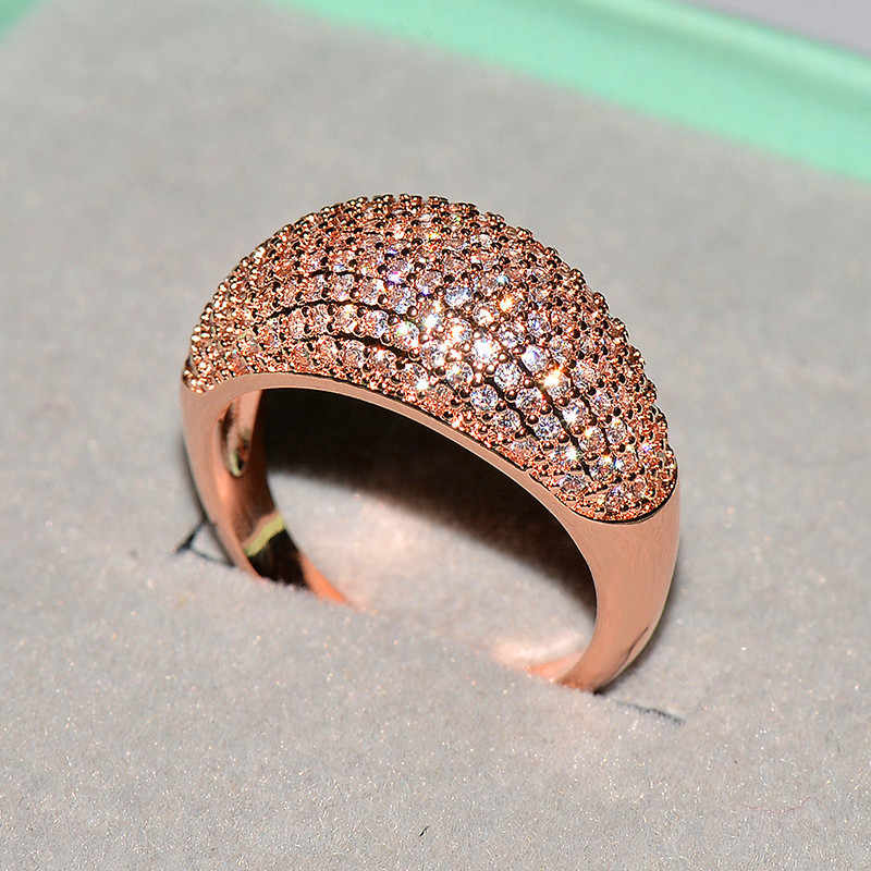 귀여운 여성 작은 지르콘 스톤 링 빈티지 18kt 로즈 골드 컬러 결혼 반지 약속 사랑 약혼 반지 여성을위한