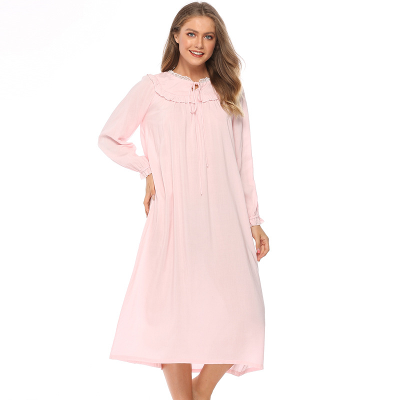 Long sleeve pure cotton Princess nightdress autumn new large size loose pajamas women's lovely home clothes