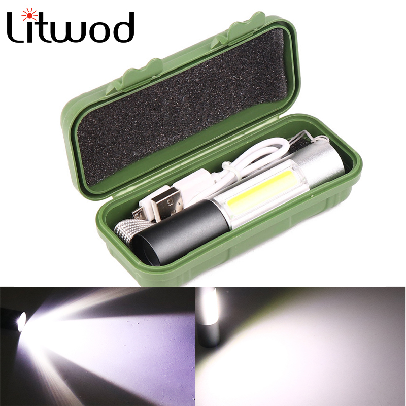 USB Rechargable Mini LED Flashlight Super Bright 3 Modes COB+XPE T6 Torch Waterproof Portable For Camping Cycling Night Lighting