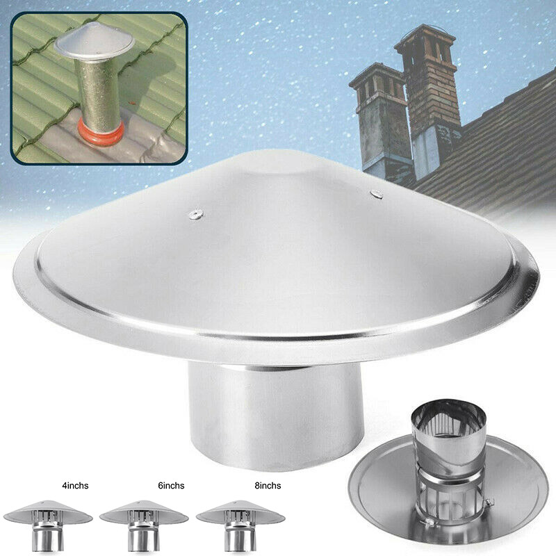 4/6/8 Inch Stove Pipe Chimney Cap Fireplaces Rain Hat Smokeware Zinc Alloy Mushroom-shaped PUO88