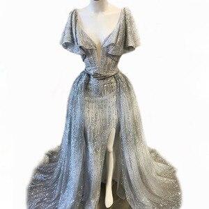 Image 1 - Bling Glitter kumaş İki adet akşam elbise dalan boyun çizgisi fırfır kollu uyluk yüksek yarıklar ayrılabilir üzerinde etek balo abiye