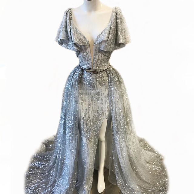 Bling Glitter kumaş İki adet akşam elbise dalan boyun çizgisi fırfır kollu uyluk yüksek yarıklar ayrılabilir üzerinde etek balo abiye