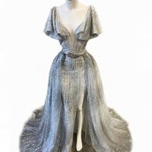 Bling brokatowa tkanina dwuczęściowa suknia wieczorowa głęboki dekolt rękawy z falbankami udo wysokie rozcięcie odpinana spódnica suknie na bal maturalny