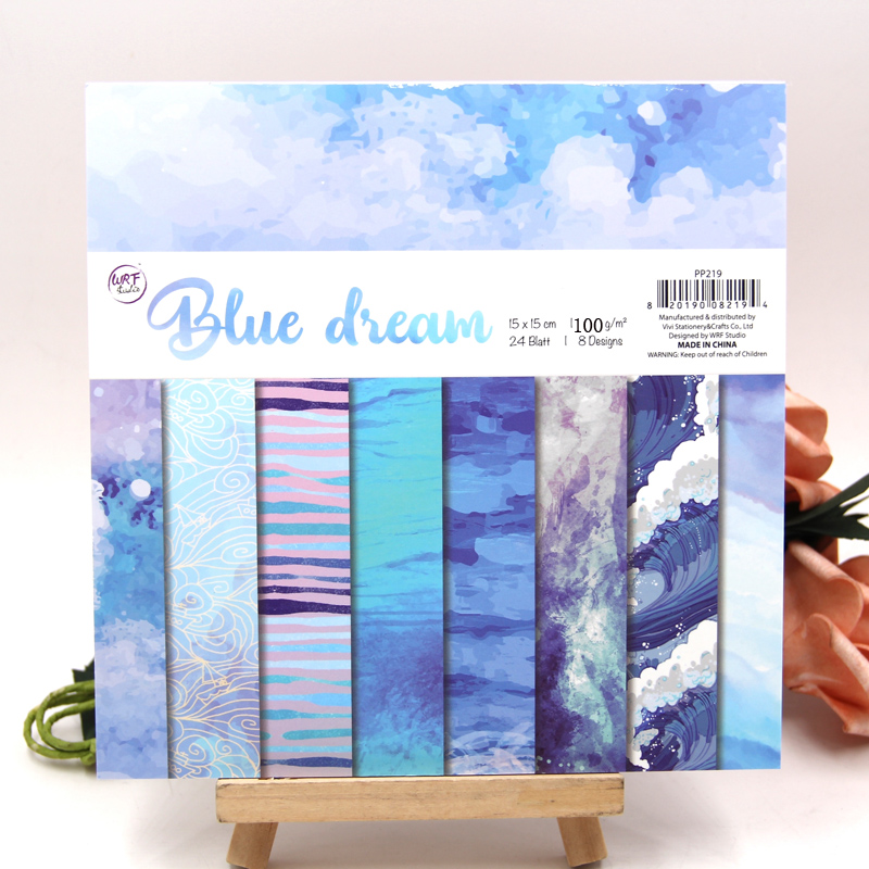 KLJUYP 24 Sheets Blue Dream Scrapbooking Pads Paper Origami Art Background Paper Card Making DIY Scrapbook Paper Craft