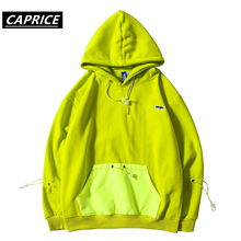 Front Pocket Hoodies Pullover Hooded Sweatshirts 2019 Men Fashion Hip Hop Hipster Streetwear Male Tops Fluorescent green
