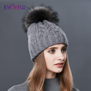 Image 3 - ENJOYFUR Thick Warm Double Layer Women Winter Hats Fashion Coarse Twist Type Knitted Hat Female Fur Pompom Cap Cashmere Beanies