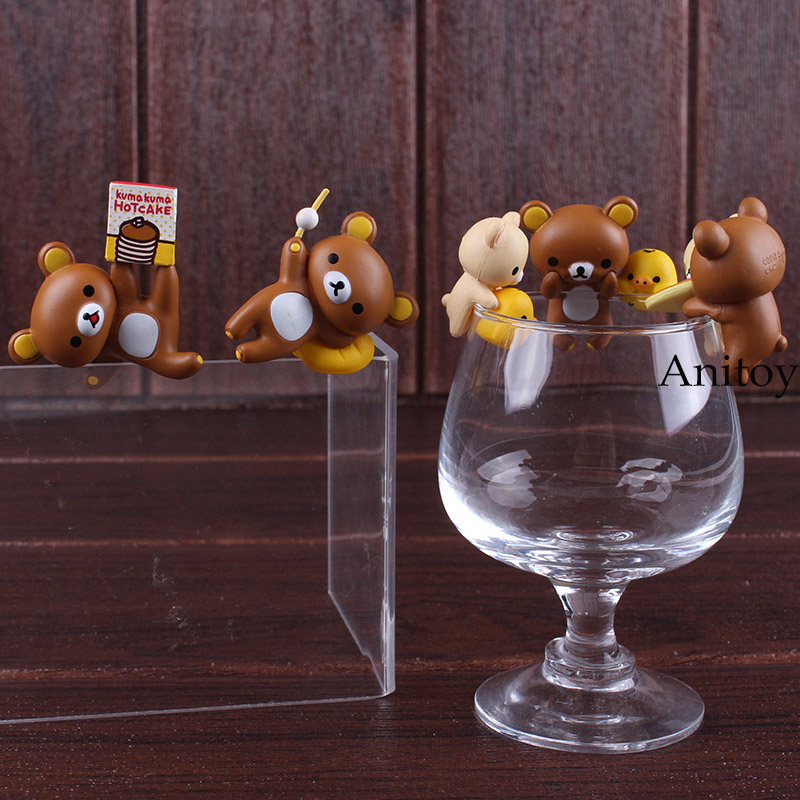 Putitto Series Rilakkuma & Kiiroitori Cute Lovely Rilakkuma Bear Mini PVC Figure Kids Toy Christmas & Brithday Gifts 5pcs/set