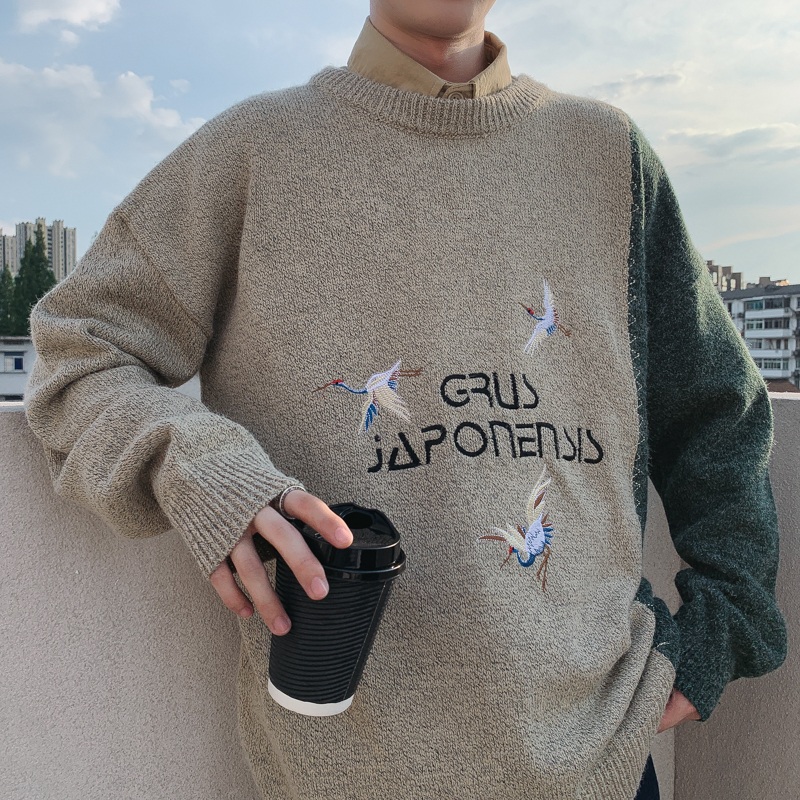 2019 UYUK Autumn Winter New Chinese Wind Port Style Harajuku Loose Crane Embroidered Round-neck Men's Sweater Hombre  Crew Neck