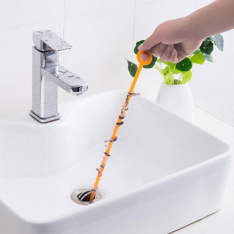Gancho de limpeza de pia, dispositivo de limpeza de esgoto, mola, ferramenta de limpeza de pia, remoção de cabelo, ferramenta de 47.5, 1 peça cm