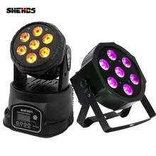 LED Moving Head Light Wash 7x18W RGBWA+UV 6in1 DMX 12/16 Channels stage light DJ Nightclub Party SHEHDS 2pcs lot mini led wash moving head 4x18w rgbwa uv dmx stage lights business high power with professional for party ktv disco dj