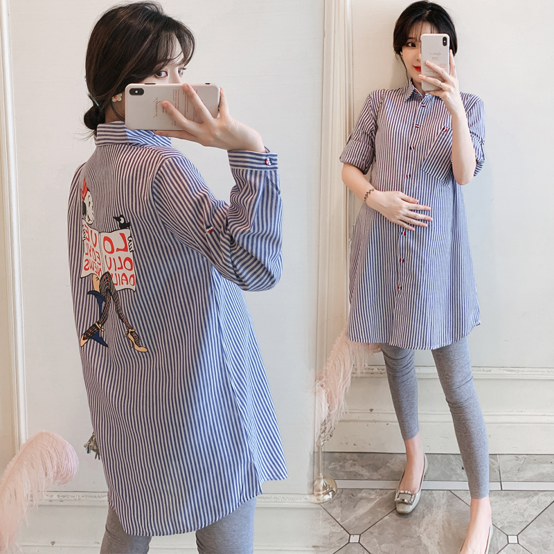 6098# Stylish Loose Striped Blue Cotton Maternity Blouses 2019 Autumn Fashion Blouses For Pregnant Women Pregnancy Casual Tops