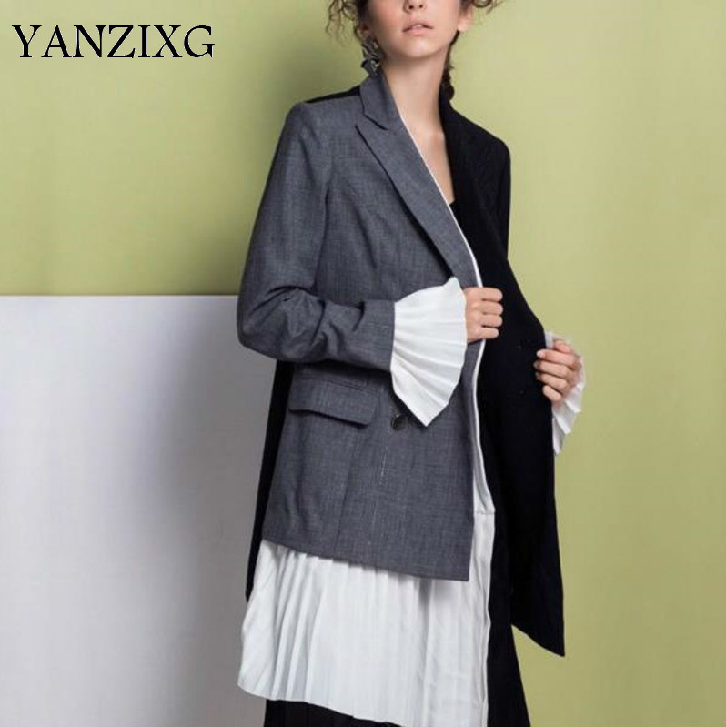 New Autumnr Women Fashion Asymmetrical Spliced Frills Slim Color Double-breasted Suit Collar Caot R149