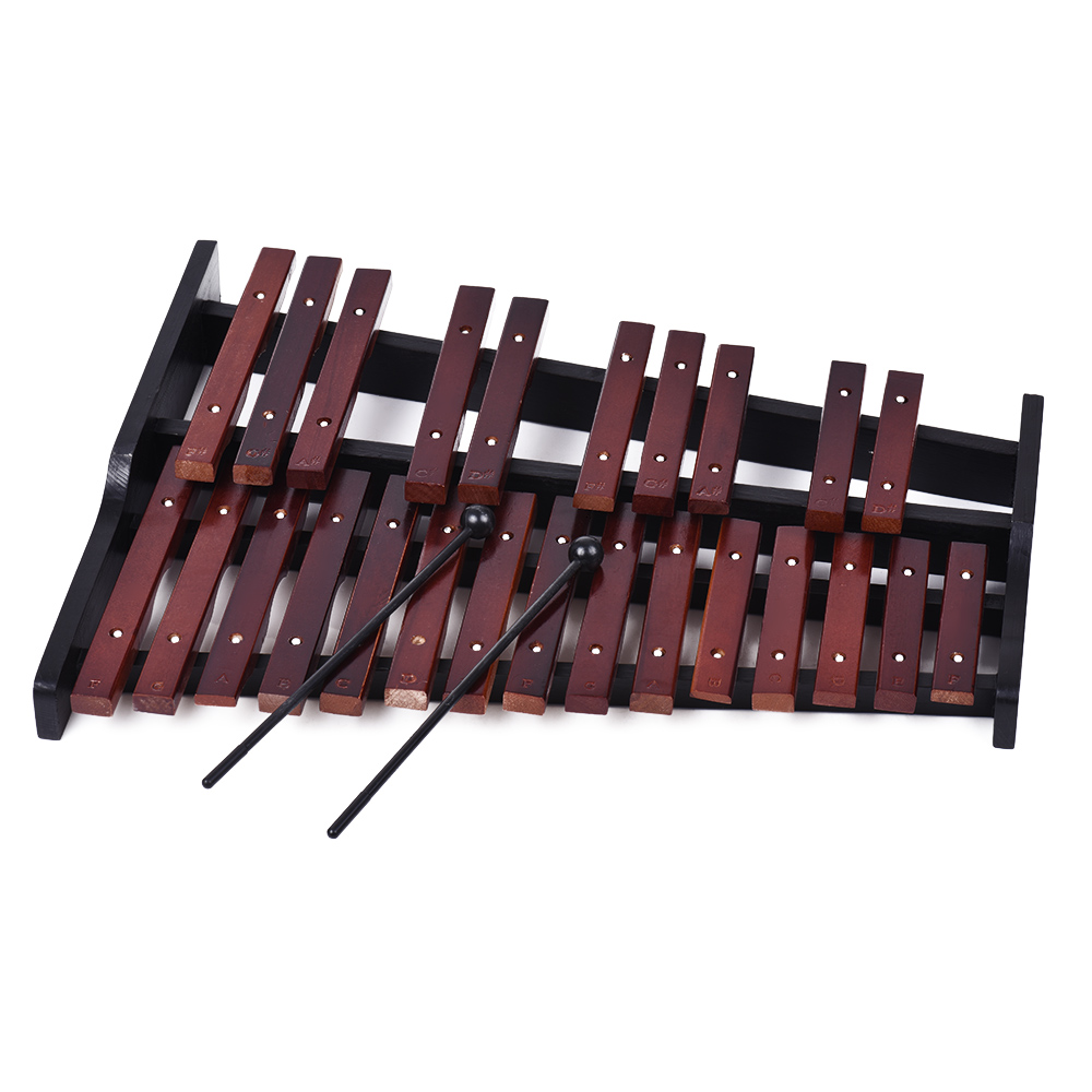 25 Note Wooden Xylophone Percussion Educational Musical Instrument Gift With 2 Mallets