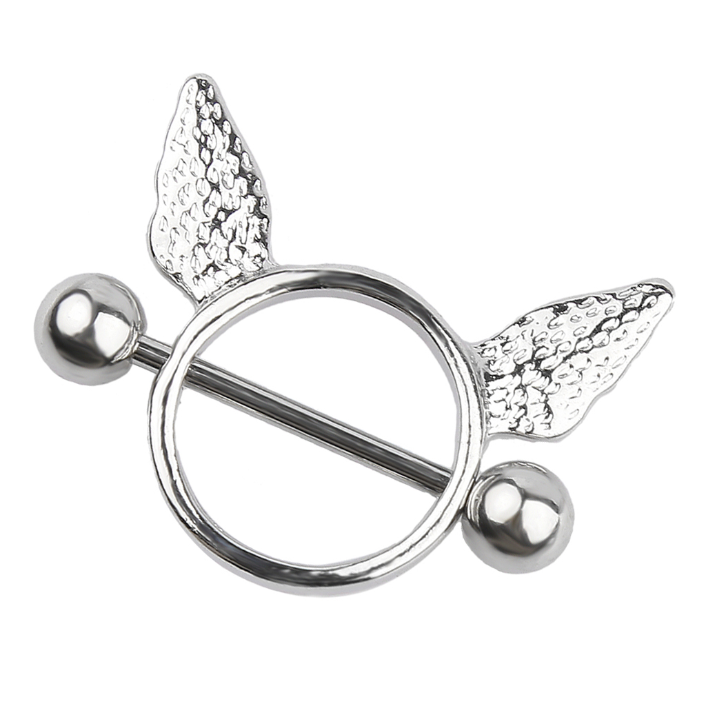 A Pair Of Angel Wing Nipple Shield Ring Barbell  Jewelry-Silver