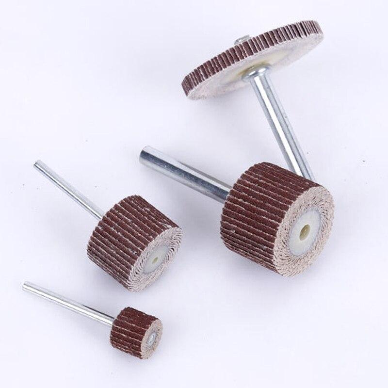 Dophee 10Pcs 80# Grit 30x25x6mm Sanding Grinding Aluminum Oxide Flap Wheels for Rotary Tools