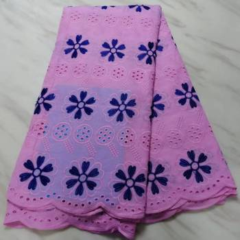 5Yards/pc Hot sale pink african cotton fabric flower embroidery swiss voile dry lace for clothes BC90-6