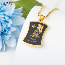 Women Libra Zodiac Necklace For Men Stainless Steel Chain Black Necklaces Gold Silver Color 12 Constellations Letter