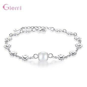 New Fresh 925 Sterlig Silver Plum Flower Pearl Charm Bangle Bracelet for Women Girl Fashion Trendy Jewelry Gift Ornament
