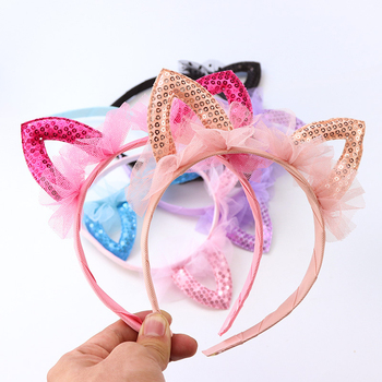 Children's Girl Sequins Lace Headband Cat-Shaped Ear Fairy Headband Hairband Lovely Girls Kids Cartoon Headwear Hair Accessories image