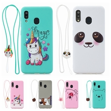 Kawaii case for Samsung A30 A40 Case Cover 3D Lanyard Unicorn Silicone etui Galaxy A20E A60 M40 Cases Women