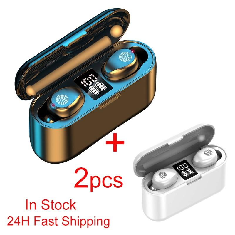 1/2 шт. TWS Bluetooth 5,0 наушники, беспроводные наушники, бинауральная Автоматическая подходящая гарнитура 2000 мАч, зарядный чехол для прямой постав...