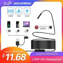 2.0MP yarı sert USB endoskop kamera IP67 su geçirmez kanalizasyon kamera ile 8 LED Android için, macBook ve Windows PC (3CM 5M)