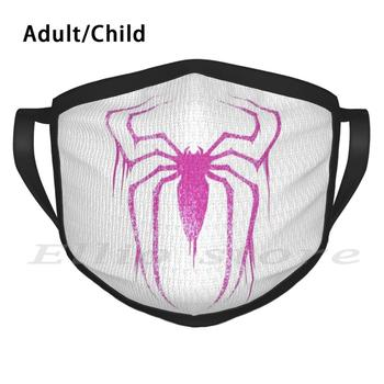 Spider Symbol ( Pink Version ) Print Washable Anti Dust Scarf Mask Spider Spidergwen Gwen Stacy Pink Comics Amazing image