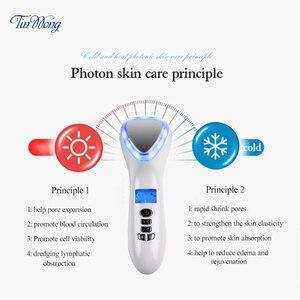 Image 3 - Ultrasone Cryotherapie Schoonheid Apparaat LED Hot Koude Hamer Facial Lifting Aanscherping Trillingen Stimulator Gezicht Lichaam Spa Gereedschappen
