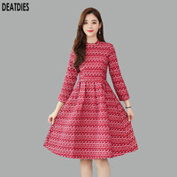 Red Plaid Fashion Long Sleeve Casul Dress Women A line Elegant Autumn Winter Vintage Office Lady Womans Dresses Vestidos 2019