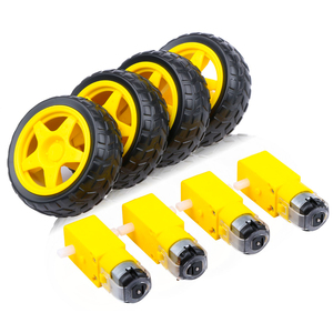 4PCS DC Electric Motor + Plastic TT Motor Tire Wheel 3-6V Dual Shaft Gear Motor TT Magnetic Gearbox Engine For Arduino Smart Car