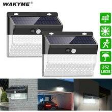 WAKYME 262 LED Solar Light Waterproof Solar Powered Wall Lamp PIR Motion Sensor Solar Lamp Sunlight Path Courtyard Street Light