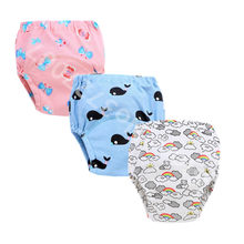 Calcinha de pano reutilizável, calça de treinamento para bebês, crianças pequenas, à prova d' água, lavável, 4 camadas, virilha