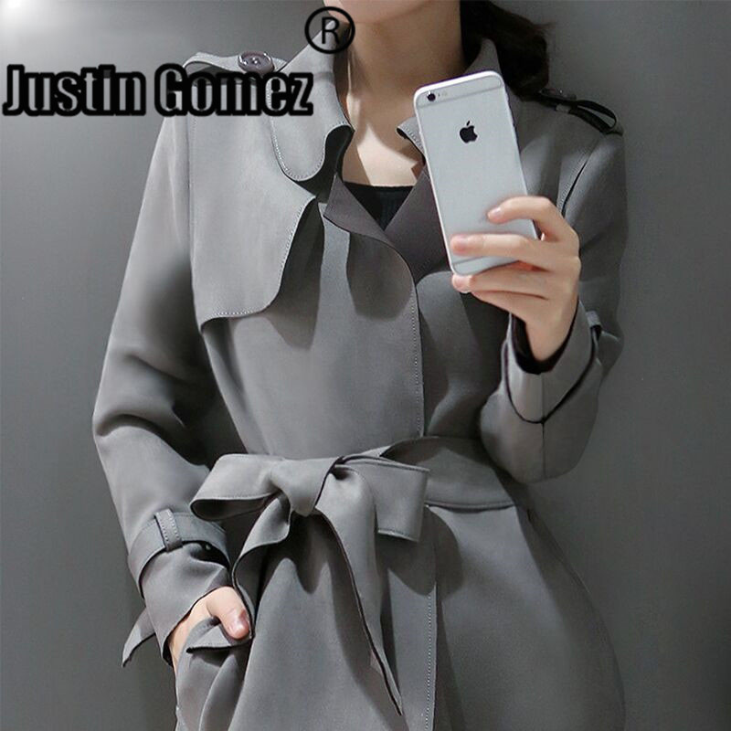 Top quality New 2019 Fashion Suede   Trench   Coat Women Abrigo Mujer Long Elegant Style women Suede outerwear
