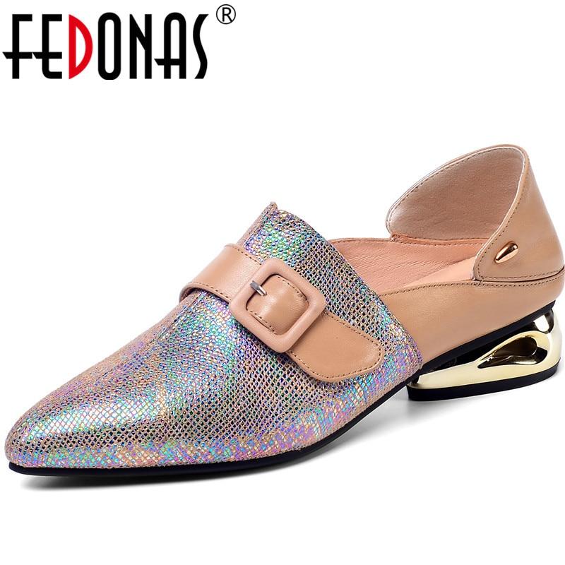 FEDONAS Elegant Buckle Pumps Women Spring Autumn Four Seasson Office Ladies Party Shoes Woman Genuine Leather Metal Decoration