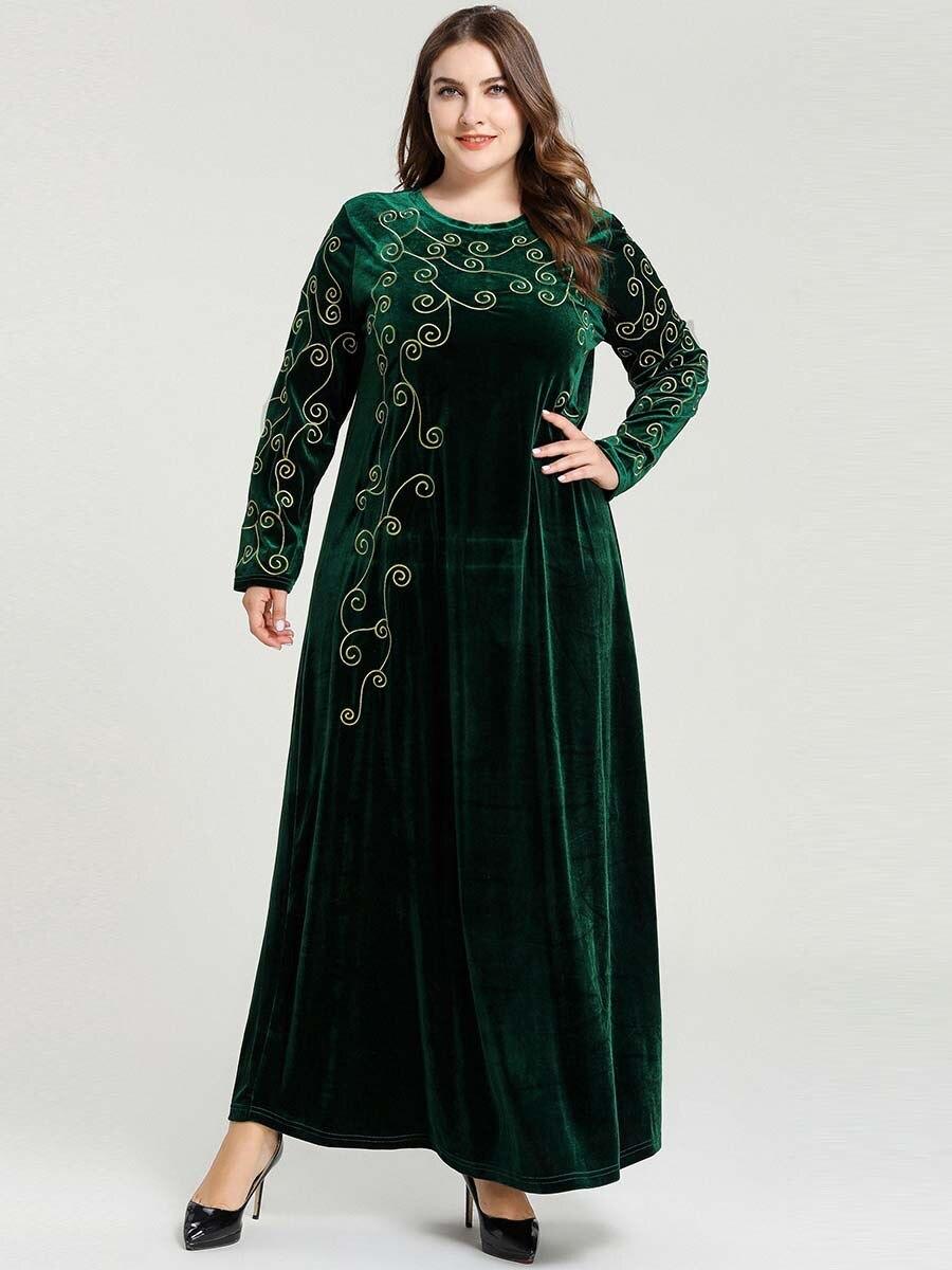 Plus Size Velvet Abaya Hijab Muslim Dress Islamic Clothing Abayas For Women Turkish Dresses Caftan Moroccan Kaftan Robe Dubai