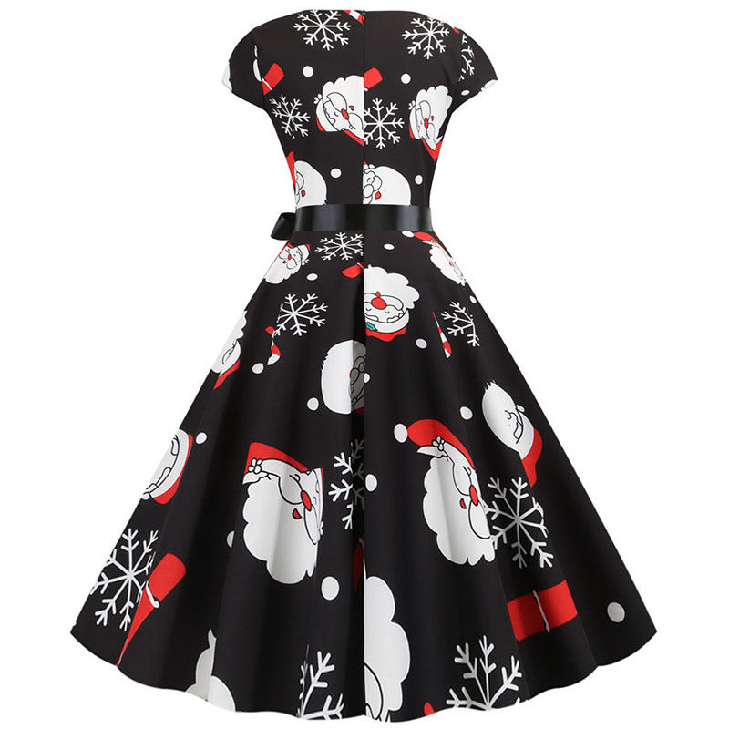 Women Christmas Party Dress robe femme Plus Size Elegant Vintage Short Sleeve Xmas Summer Dress Black Casual Midi Jurken Vestido 638