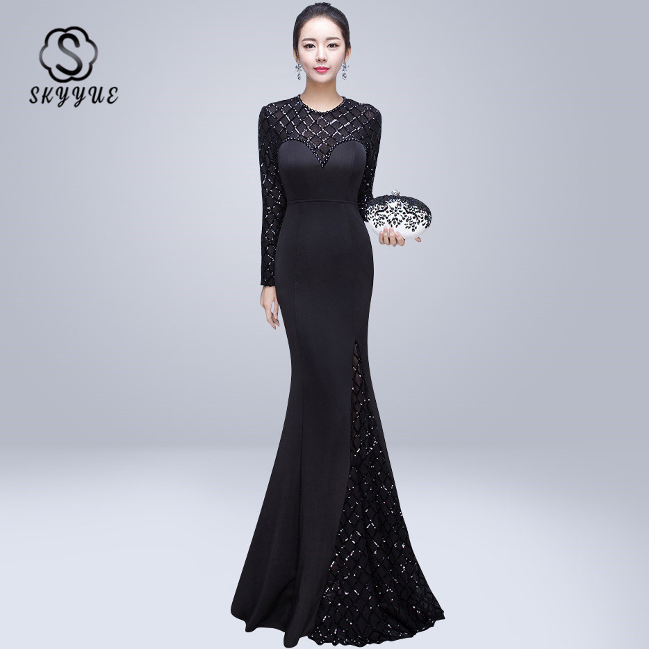 Skyyue Evening Dress O-neck Sequin Women Party Dresses Sexy Hollow Robe De Soiree 2019 Long Sleeve Crystal Evening Gowns C220