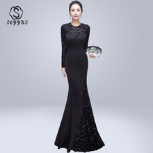 Skyyue Evening Dress O-neck Sequin Women Party Dresses Sexy Hollow Robe De Soiree 2019 Long Sleeve Crystal Gowns C220