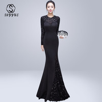 Skyyue Evening Dress O neck Sequin Women Party Dresses Sexy Hollow Robe De Soiree 2019 Long Sleeve Crystal Evening Gowns C220