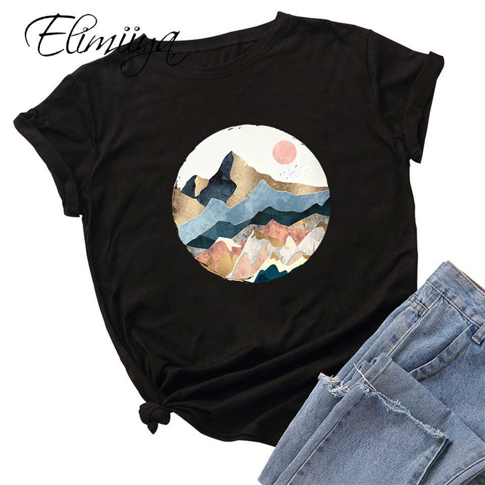 Elimiiya New Women's t-shirt Mountain Print Cotton T shirt Creative Loose casual Tops Graphic Tees Oversize T-shirts 2020 Female