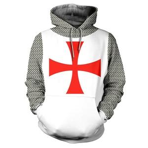 Image 3 - 3D Printed Knights Armor Templar Tops Streetwear Hoodie Long Sleeve Pullover Hoodie
