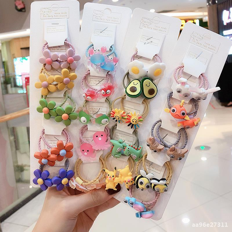 Ruoshui 10pcs Children Cute Cartoon Hair Ties Girls Lovely Elastic Hairband Baby Scrunchies Ornaments Hair Accessories Headwear