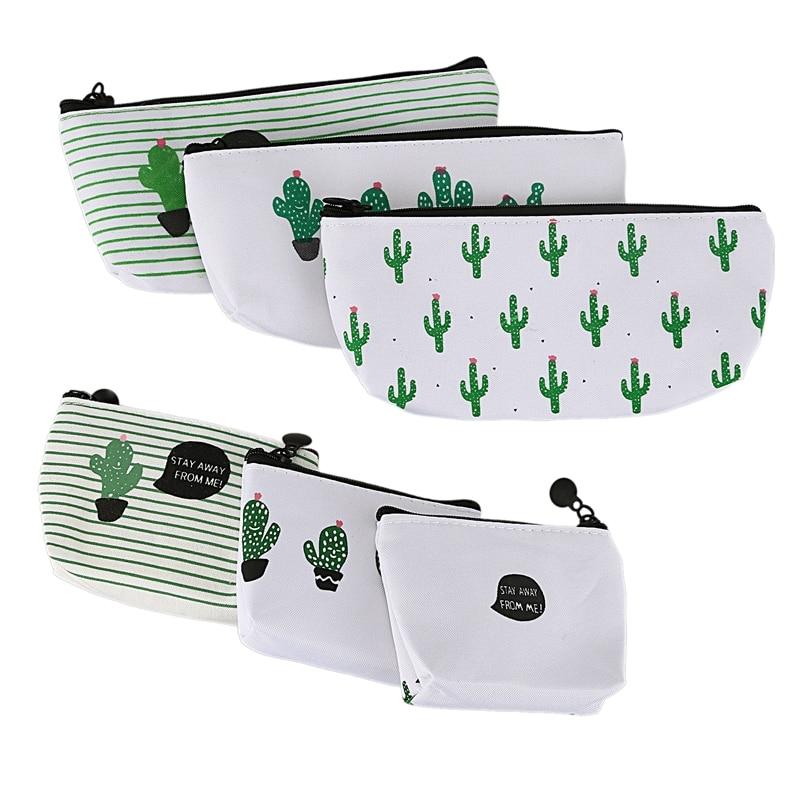 Canvas Students' School Bag Box Pencil Case Wallet Wallet Cosmetic Bag Cactus Set 6 Pcs