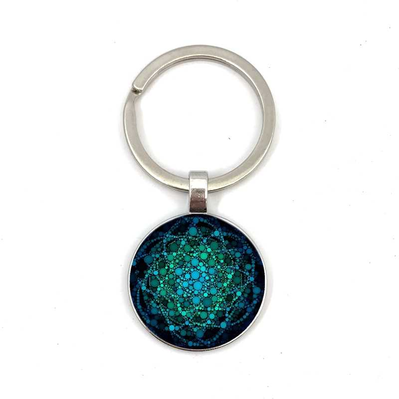 Veaqian kwiat życia nowy klucz pierścień Om joga wisior czakry Mandala klucz pierścień kryształ kopuła modne święte geometria klucz wisiorek