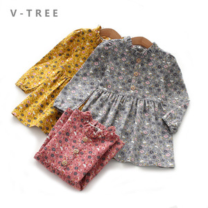 2020 Spring Autumn Girls Princess Dress Cotton Dresses For Kids Full Printed Flower Infant Dress Long Sleeve Girl Costume 6 8